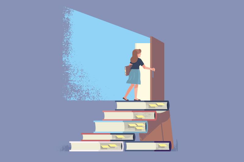 Trappa av böcker leder till dörr