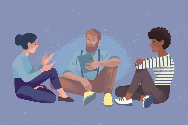 tre personer samtalar