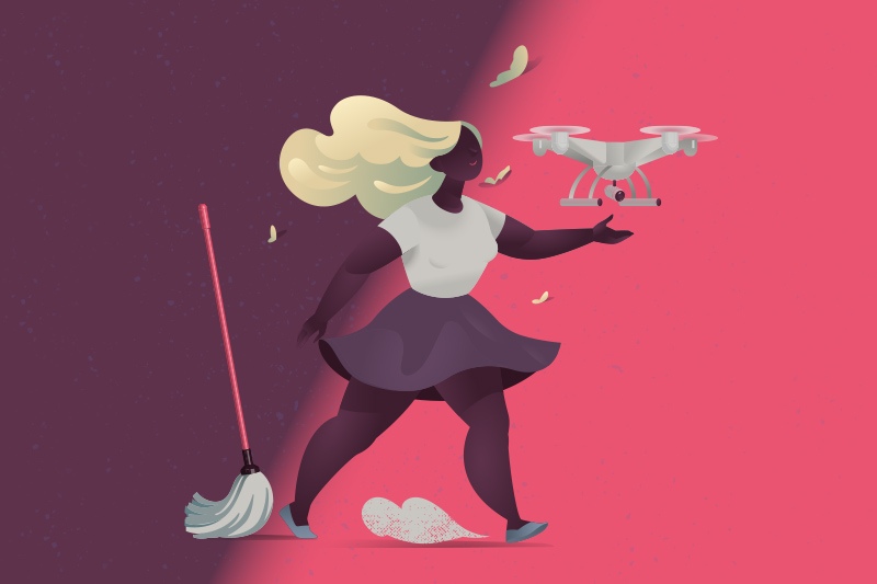 illustration kvinna går mot drönare