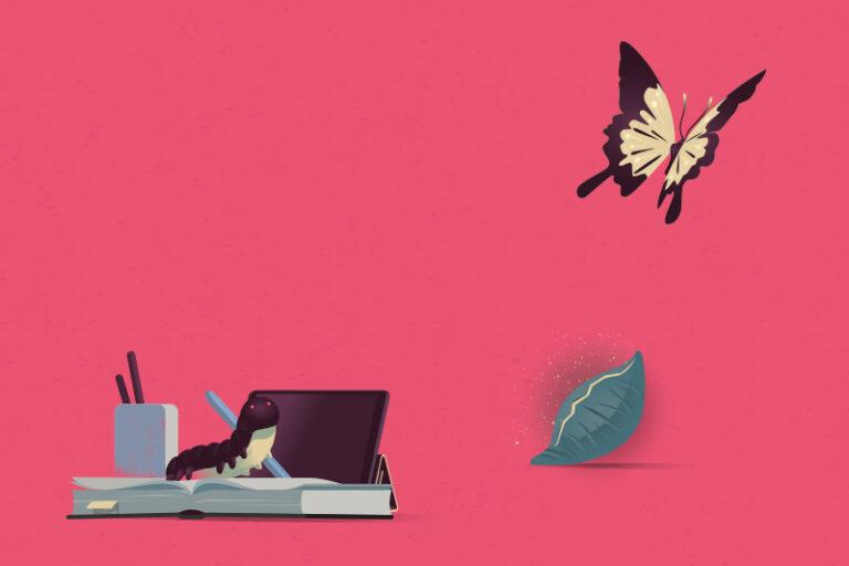 illustration larv blir fjäril